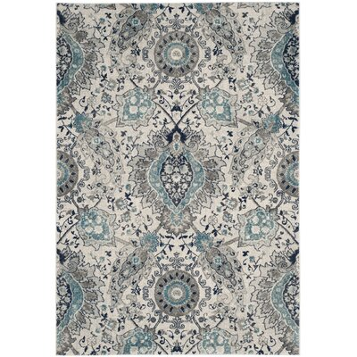 Grieve Cream/Light Gray Area Rug Rug Size: Rectangle 4 x 6