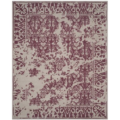 Ellicottville Hand-Tufted Silver/Purple Area Rug Rug Size: Rectangle 8 x 10