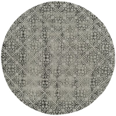 Edmeston Hand-Tufted Gray Wool Area Rug Rug Size: Round 7