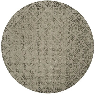 Edmeston Hand-Tufted Dark Beige Area Rug Rug Size: Round 7