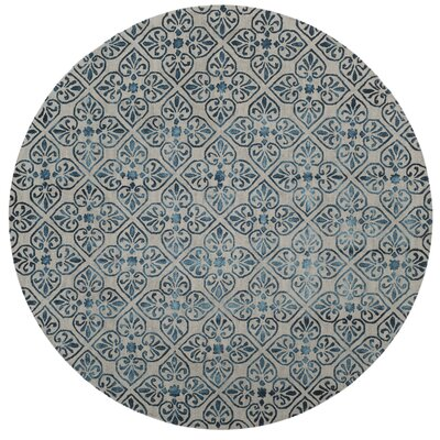 Edmeston Hand-Tufted Gray/Charcoal Area Rug Rug Size: Round 7