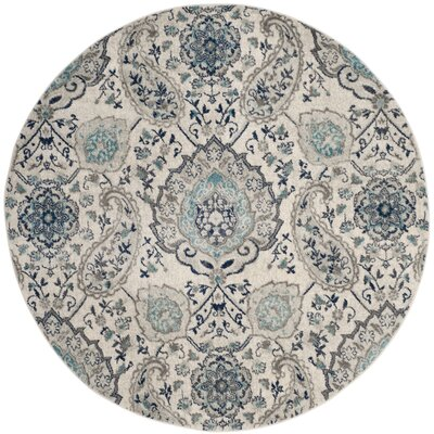 Grieve Cream/Light Gray Area Rug Rug Size: Round 9