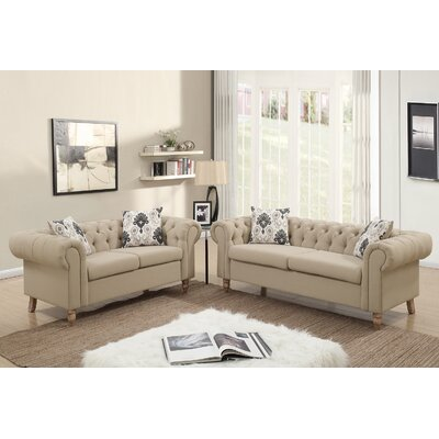 Garett 2 Piece Living Room Set Upholstery: Sand