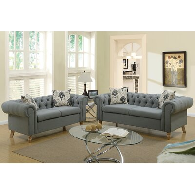 Garett 2 Piece Living Room Set Upholstery: Ash Black