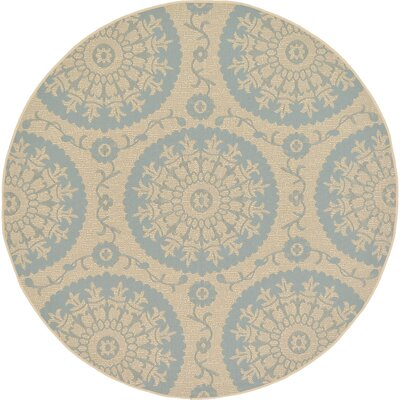 Keough Beige Outdoor Area Rug Rug Size: Round 6