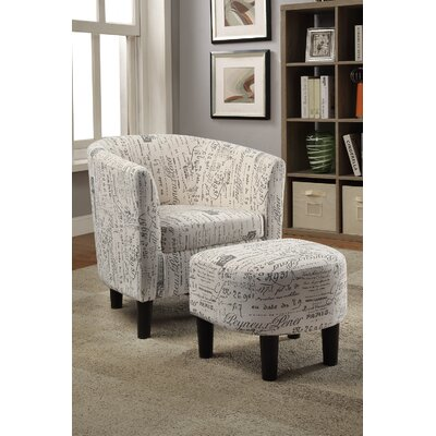 Tanay Dorris Fabric Barrel Chair and Ottoman