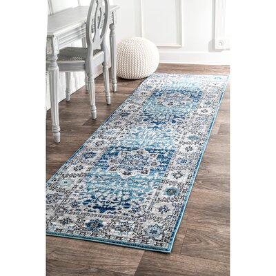 Ashcraft Blue Area Rug Rug Size: Runner 28 x 8