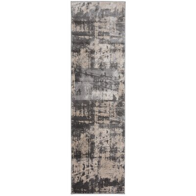 Milani Distressed Contemporary Design Gray Area Rug Rug Size: Runner 2 x 7