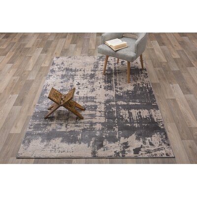 Milani Distressed Contemporary Design Gray Area Rug Rug Size: Rectangle 5 x 7