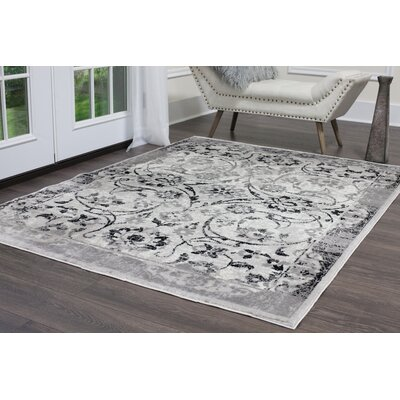 Kallie Silver Ivory Area Rug Rug Size: Rectangle 79 x 102