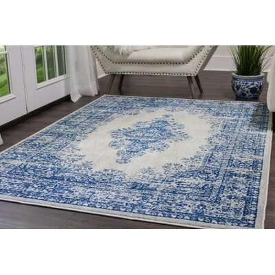 Emmalynn Medallion Gray/Blue Area Rug Rug Size: Rectangle 65 x 92