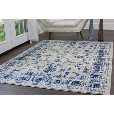 Emmalynn Gray/Blue Area Rug Rug Size: Rectangle 22 x 18