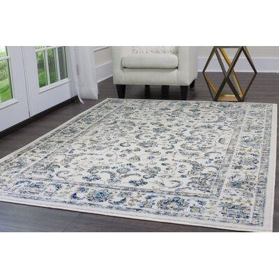 Emmalynn Bordered Ivory Area Rug Rug Size: 92X118