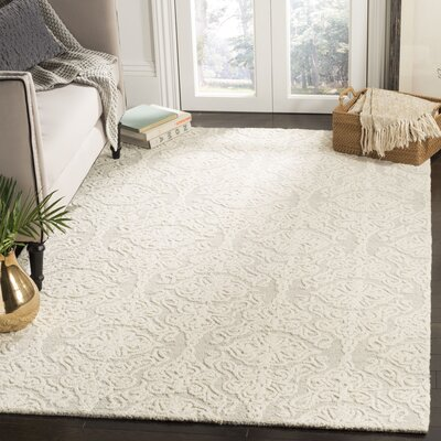 Deidamia Hand-Woven Wool Silver/Ivory Area Rug Rug Size: Round 6