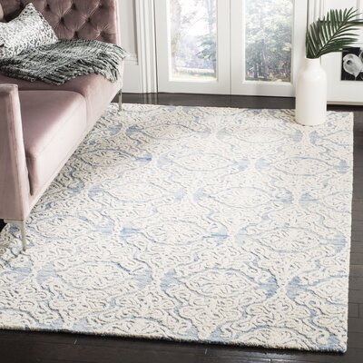 Deidamia Hand-Woven Wool Blue/Ivory Area Rug Rug Size: Square 6