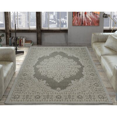 Genoa Damask Medallions Power Loom Light Gray Indoor/Outdoor Area Rug Rug Size: 53 X 73