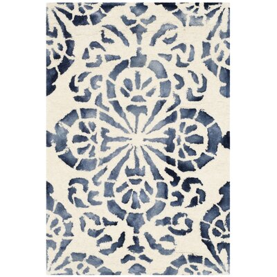 Edmeston Hand-Woven Ivory/Navy Area Rug Rug Size: Rectangle 2 x 3