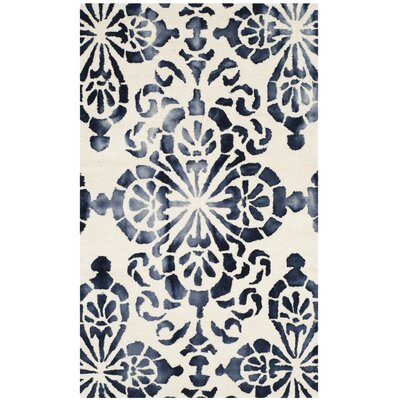 Edmeston Hand-Woven Ivory/Navy Area Rug Rug Size: Rectangle 3 x 5
