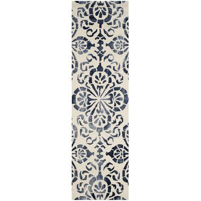 Edmeston Hand-Woven Ivory/Navy Area Rug Rug Size: Runner 23 x 6
