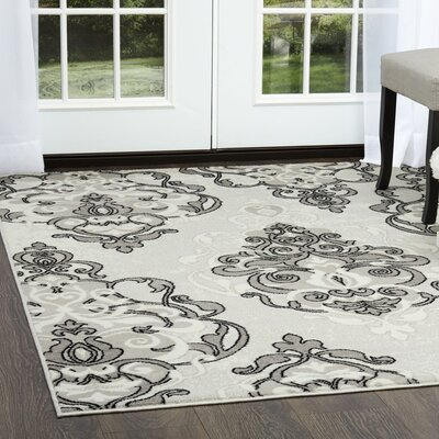 Kallie Sconce Ivory/Gray Area Rug Rug Size: Rectangle 3'3