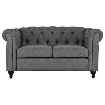 Kym Living Room Chesterfield Loveseat Upholstery: Gray