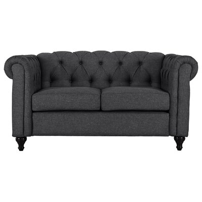 Kym Living Room Chesterfield Loveseat Upholstery: Dark Gray