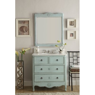 Nallely 34 Single Bathroom Vanity Set with Mirror Base Finish: Blue