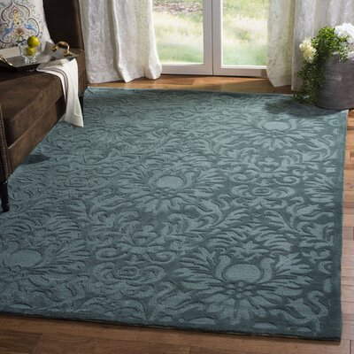 Jonson Hand-Hooked Gray/Blue Area Rug Rug Size: Rectangle 6 x 9