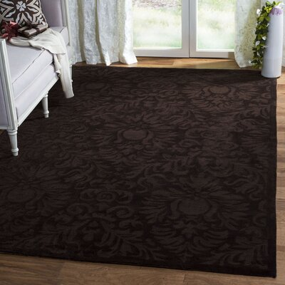 Jonson Hand-Hooked Chocolate Area Rug Rug Size: Rectangle 3 x 5