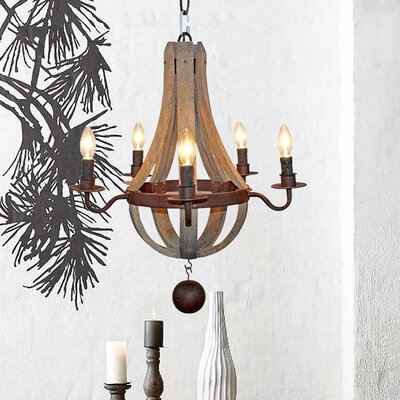 Amata Wooden Flask Shape 5-Light Candle-Style Chandelier