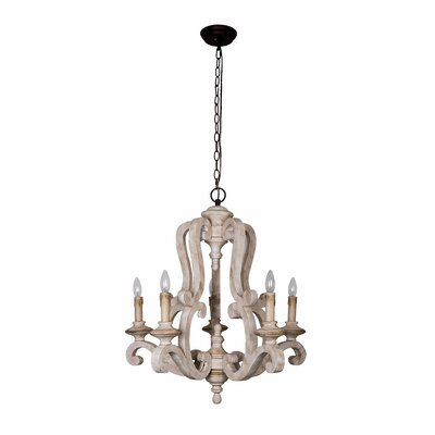 Bella Antique Wooden 6-Light Candle-Style Chandelier