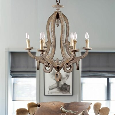 Avelina Wooden 6-Light Candle-Style Chandelier