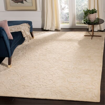 Jonson Hand-Hooked Ivory Area Rug Rug Size: Rectangle 6 x 9