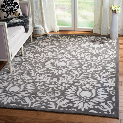Kingsview Hand-Hooked Gray/Beige Area Rug Rug Size: Rectangle 6 x 9