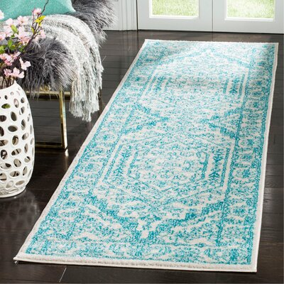 Nicki Ivory/Teal Area Rug Rug Size: Runner 26 x 8