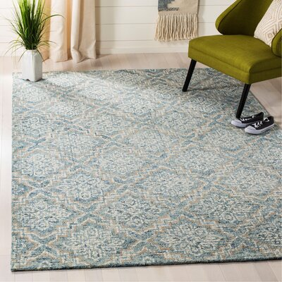 Salerna Hand-Tufted Wool Blue/Gray Area Rug Rug Size: Rectangle 6 x 9
