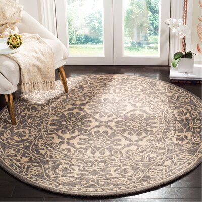 Kirkwood Hand-Knotted Gray Area Rug Rug Size: Round 5