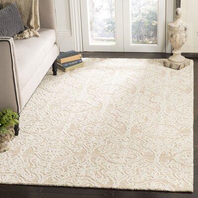 Deidamia Hand-Woven Wool Beige/Ivory Area Rug Rug Size: Rectangular 5 x 8