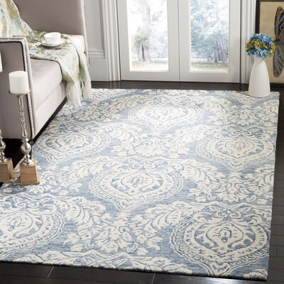 Jones Street Hand-Tufted Wool Blue/Ivory Area Rug Rug Size: Rectangle 5 x 8