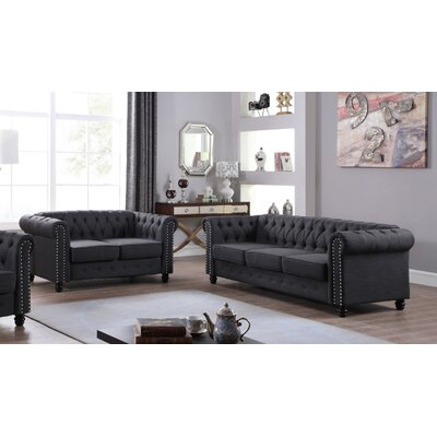 Sharniece 2 Piece Living Room Set Upholstery: Dark Gray