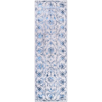 Lilyana Hand-Tufted Wool Blue/Ivory Area Rug Rug Size: Runner 26 x 8