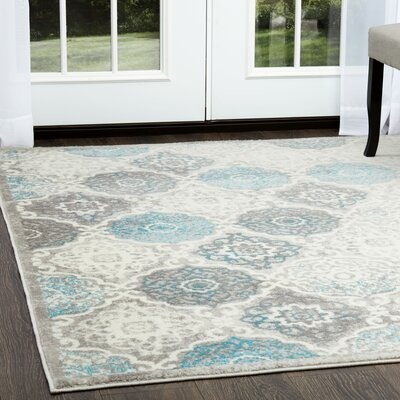 Kallie Quilted Gray/Blue Area Rug Rug Size: 92 X 125