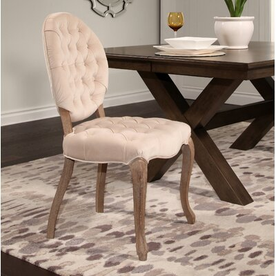 Manlius Vintage Oval Tufted Velvet Upholstered Dining Chair Upholstery Color: Ivory