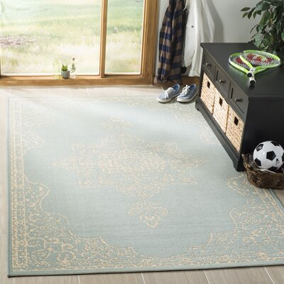 Tomohon Cream/Aqua Area Rug Rug Size: Rectangle 4 x 6