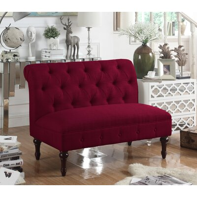 Lauryn Tufted Chesterfield Loveseat Upholstery: Burgundy