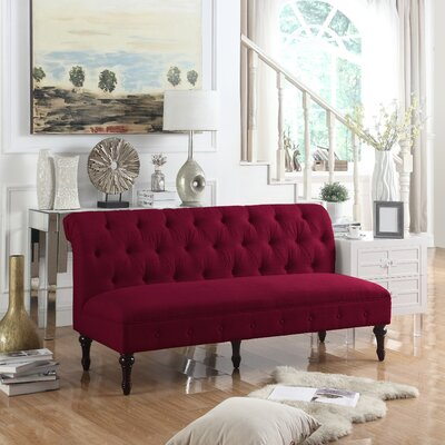 Lauryn Tufted Chesterfield Sofa Upholstery: Burgundy