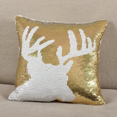 Alandra Sequin Reindeer Holiday Christmas Throw Pillow