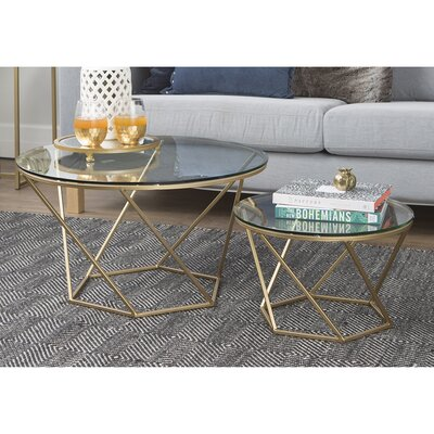 Aman Geometric Glass Coffee Tables Base Finish: Gold