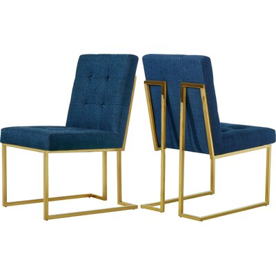 Somerset Linen Side Chair Upholstery: Navy