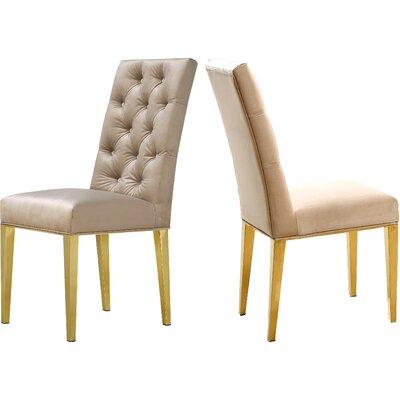 Woodland Velvet Dining Chair Upholstery: Beige